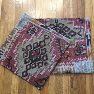 Pair Boho Turkish Kilim Pillow Covers